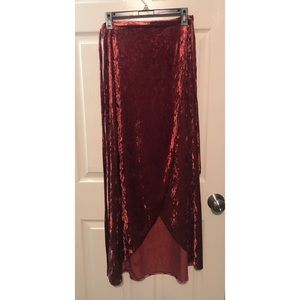 Band of Gypsies crushed velvet maxi wrap skirt.